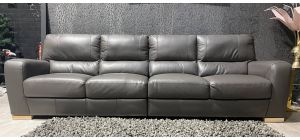 Lucca Grey Large 5 Seater Leather Sofa Sisi Italia Semi-Aniline With Wooden Legs Ex-Display Showroom Model 47402