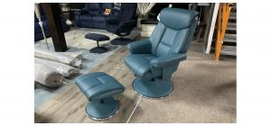 Dubai Green Accent Leather Armchair With Wooden Legs And Footstool Available In A Range Of Colours - Call For More Info