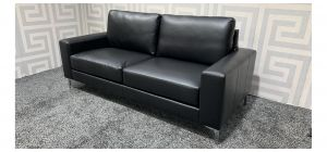 Black Bonded Leather Large Sofa With Chrome Legs Ex-Display Showroom Model 47482