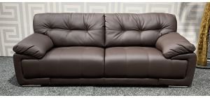 Alexis Brown Bonded Leather Large Sofa With Chrome Legs Ex-Display Showroom Model 47490