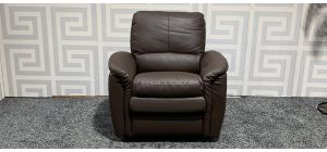 Relax Brown Leather Armchair Manual Recliner Ex-Display Showroom Model 47494
