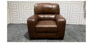 Lucca Brown Leather Armchair Sisi Italia Semi-Aniline With Wooden Legs - Few Scuffs (see images) Ex-Display Showroom Model 47535
