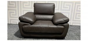 Valencia Brown Leather Armchair With Adjustable Headrests Ex-Display Showroom Model 47538