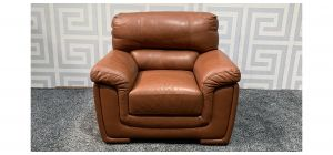 Majori Tan Leather Armchair Sisi Italia Semi-Aniline With Wooden Legs - Few Scuffs (see images) Ex-Display Showroom Model 47581