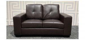 Brown Square Arm Bonded Leather Regular Sofa Ex-Display Showroom Model 47583