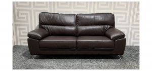 Divano Brown Bonded Leather Large Sofa With Chrome Legs Ex-Display Showroom Model 47611