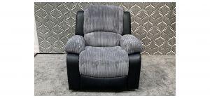 Minnesota Black And Grey Fabric Armchair Manual Recliner Ex-Display Showroom Model 47627