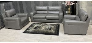 Lucca Grey Leather Static 3 + 1 Sofa Set With Electric Recliner Armchair Sisi Italia Semi-Aniline With Wooden Legs Ex-Display Showroom Model 47644