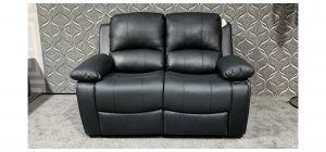 Valencia Black Bonded Leather Regular Sofa Manual Recliner Ex-Display Showroom Model 47651