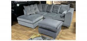 Royale Grey LHF Fabric Corner Sofa With Chrome Legs And Footstool In A Different Shade Of Grey(70x55cm h45) (see images) Ex-Display Showroom Model 47677
