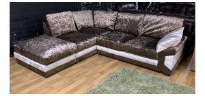 Pose Brown LHF Fabric Corner Sofa Crushed Velvet Ex-Display Showroom Model 47679