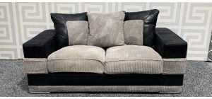 Kudos Black And Grey Regular Fabric Sofa With Chrome Legs - Few Marks (see images) Ex-Display Showroom Model 47761