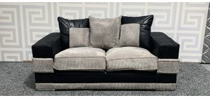 Kudos Black And Grey Regular Fabric Sofa With Chrome Legs - Few Marks (see images) Ex-Display Showroom Model 47762