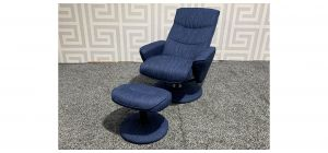 Boyant Blue Fabric Recliner Swivel Armchair And Footstool(w55 d45 h35cm) - Ex-Display Showroom Model 47791