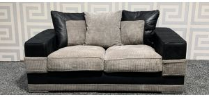 Kudos Black And Mink Regular Fabric Sofa With Scatter Back And Chrome Legs Ex-Display Showroom Model 47792