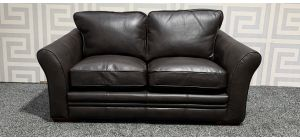 Brown Round Arm Leathaire Regular Sofa With Wooden Legs Ex-Display Showroom Model 47793