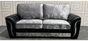 Black And Silver Large Crushed Velvet Sofa With White Stitching And Wooden Legs Ex-Display Showroom Model 47796