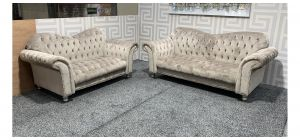 Elegance Beige Fabric 3 + 2 Sofa Set With Round Studded Arms And Wooden Legs Ex-Display Showroom Model 47797