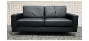 Black Bonded Leather Regular Sofa With Chrome Legs Ex-Display Showroom Model 47798