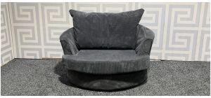XL Grey Fabric Swivel Chair Ex-Display Showroom Model 47800