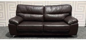 Divano Brown Leathaire Large Sofa With Chrome Legs Ex-Display Showroom Model 47810