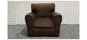 Brown Round Arm Fabric Armchair Ex-Display Showroom Model 47815