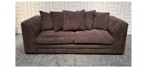 Dylan Chocolate Brown Large Fabric Sofa With Scatter Back Ex-Display Showroom Model 47821