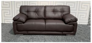 Alexis Brown Bonded Leather Regular Sofa With Chrome Legs Ex-Display Showroom Model 47827