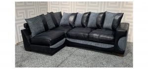 Black And Grey Fabric LHF Corner Sofa + Footstool(90 x 65 x h45cm) With Scatter Back And Wooden Legs Ex-Display Showroom Model 47832