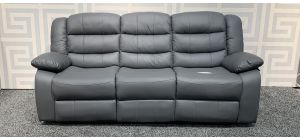 Roma Grey Bonded Leather Large Sofa Manual Recliner With Drinks Holder - 18cm Seam Split On Right Seat (see images) Ex-Display Showroom Model 47834