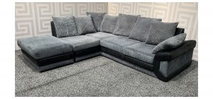 Dino Grey LHF Fabric Corner Sofa With Footstool And Scatter Back - Few Marks (see images) Ex-Display Showroom Model 47835