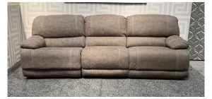 Gloucester Beige Large Manual Recliner Fabric Sofa With White Contrast Stitching - Left Seat Different Colour Shade and Few Scuffs(see images) Ex-Display Showroom Model 47836