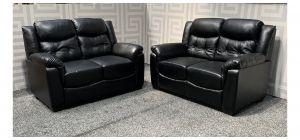 Da Vinci Black Bonded Leather 2 + 2 Sofa Set Ex-Display Showroom Model 47838