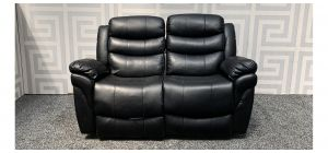 Black Bonded Leather Regular Sofa Manual Recliner - Left Recliner Broken - Left Panel 15cm Seam Split - Rear Gaps - Few Scuffs (see images) Ex-Display Showroom Model 47839