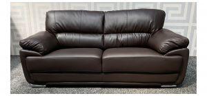 Carlton Mocha Bonded Leather Large Sofa With Chrome Legs Ex-Display Showroom Model 47840