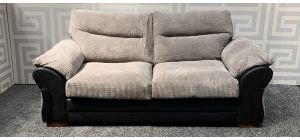 Houston Beige And Black Large Fabric Sofa With Wooden Legs - Scuff On Left Arm (see images) Ex-Display Showroom Model 47842