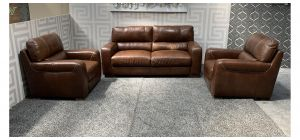 Lucca Brown 311 Sisi Italia Semi-Aniline (Armchairs Contrast Stitch) With Wooden Legs - Few Marks On 3 Seater And Colour Fade (see images) Ex-Display Showroom Model 47843