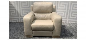 Lucca Cream Leather Armchair Electric Recliner Sisi Italia Semi-Aniline With Wooden Legs - Few Marks (see images) Ex-Display Showroom Model 47844