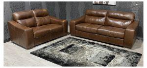 Venezia Brown Leather 3 + 2 Sofa Set Sisi Italia Semi-Aniline With Wooden Legs - Colour Fade (see images) Ex-Display Showroom Model 47846