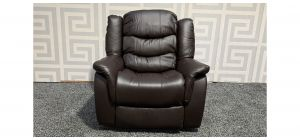 Brown Bonded Leather Armchair Manual Recliner Ex-Display Showroom Model 47856