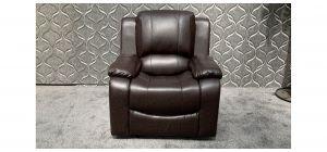 Havana Brown Bonded Leather Armchair Manual Recliner Ex-Display Showroom Model 47857