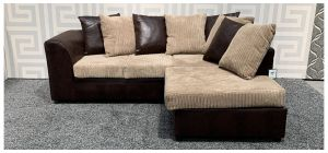 Dylan Brown RHF Fabric Corner Sofa With Scatter Back Ex-Display Showroom Model 47858