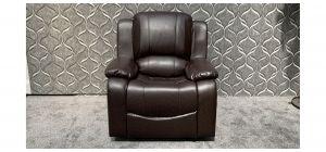 Havana Brown Bonded Leather Armchair Manual Recliner Ex-Display Showroom Model 47860