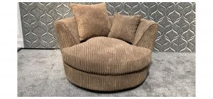 Beige Jumbo Cord Swivel Chair With Scatter Back - Missing Cushion (see images) Ex-Display Showroom Model 47862