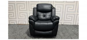 Gizelle Black Leathaire Swivel Rocking Heated Massage Manual Recliner Chair Ex-Display Showroom Model 47863