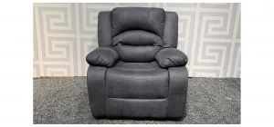 Novella Grey Suede Manual Recliner Armchair With Contrast Stitching Ex-Display Showroom Model 47865