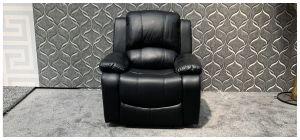 Havana Black Bonded Leather Armchair Manual Recliner Ex-Display Showroom Model 47867