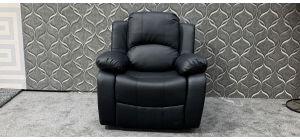 Valencia Black Bonded Leather Armchair Manual Recliner Ex-Display Showroom Model 47870