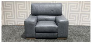 Grey Blue Leather Armchair With Adjustable Headrest Sisi Italia Semi-Aniline And Wooden Legs Ex-Display Showroom Model 47892