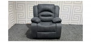 Novella Grey Suede Manual Recliner Armchair With Contrast Stitching Ex-Display Showroom Model 47927